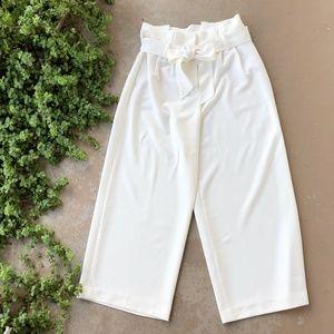 Boden White Ivory Wide Leg Paper Bag Pants